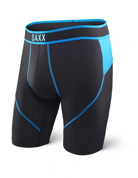 Calzoncillos Deportivos SAXX Kinetic Boxers Largos Long Leg Black/Electric Blue